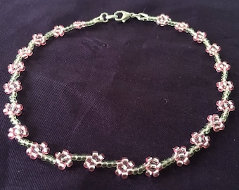 Anklet, Daisy Chain Anklet, Pink and Pale Green Flower Anklet