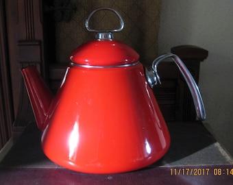 Vintage CHANTAL Tea Kettle Pot w Metal Handle Red Enamel on Steel Mid-Century Modern Retro