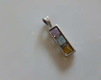 Vintage Sterling Silver 925 Pendant with Amber, Blue and Purple Stones, Vintage Jewelry, Gift for Her, Birthday Gift, Art Deco Style
