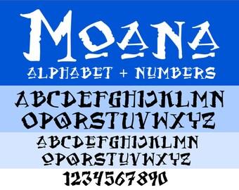 Moana font svg, Moana numbers svg, moana svg, disney svg, cartoon svg, svg file for cricut, silhouette, svg files, svg