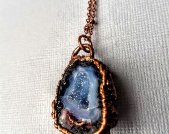 Electroformed Tabasco Geode  and Copper Necklace // Soldered Copper Chain // Rocks and Minerals // Worlds Smallest Geode //