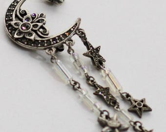 Kirks Folly Moon and Star Brooch with Charms