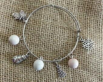 Winter wonderland themed bangle bracelet