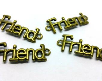 x 1 charm / connector - Friend friend Friendship Bracelet way - 15 x 40 mm - Metal color bronze