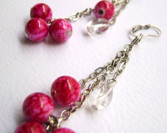 Speckle fuchsia and glass beads Floating - Unique designs long earrings