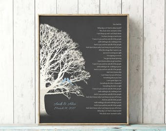 Personalized Wedding Gift Lyrics CANVAS or Print Family Tree Keepsake Customized First Dance Song Anniversary Gift Birds Rustic Blue Gray