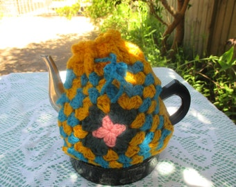 Vintage Tea Cozy - Yellow, Green, Pink, Blue  Crocheted - Vintage Style for your teapot.