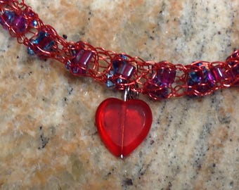 Necklace, Red unique Viking weave design heart