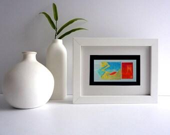 Original collage art, modern abstract art card, cut-out-art, new leaf