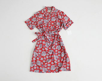 1960s floral dress   collared floral dress   bright pink and blue floral dress