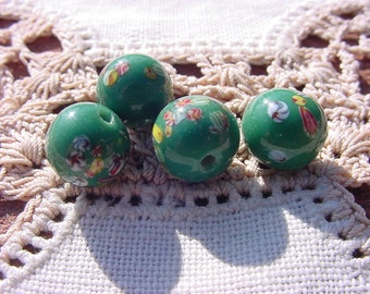 Forest Green Millefiori Vintage Japanese Glass Beads