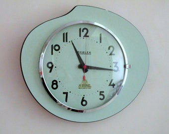 1950s-60s Atomic Age French Turquoise REGLEX Wall Clock-Formica Wall Clock-Funky Freeform Shape-Great Working Condition-Mid Century Diamond