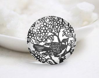 Handmade Round Paper-cut Bird Photo Glass Cabochons (P3480)