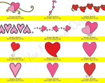 Hearts machine embroidery designs set of 12