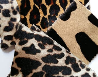 Hairy animal printed leather calf scraps