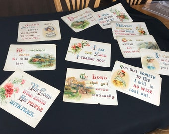 Set of 11 Vintage Bible Verse on Heavy Card Stock Great for Framing