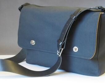"""15"""" Messenger Bag with shoulder strap - fabric satchel for Laptop, Tablet, etc."""