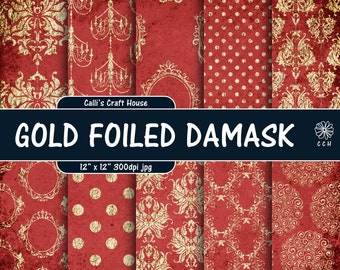 Red and Gold Foil Damask Digital Paper - red shabby chic - gold damask - vintage - wedding papers - Commercial Use - Instant Download