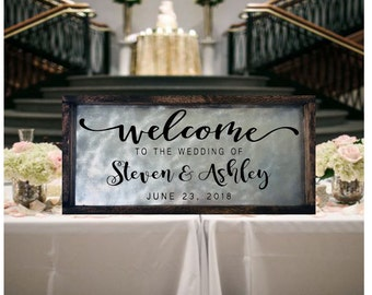Welcome Wedding Sign Wedding Welcome Sign Wood And Metal Welcome To Our Wedding Sign Personalized Wedding Sign Wedding Entrance Sign
