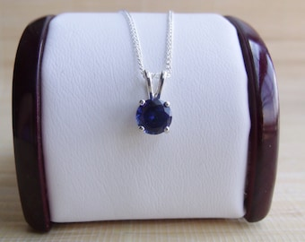 Blue Sapphire Pendant Sterling Silver September Birthstone 6mm Made To Order