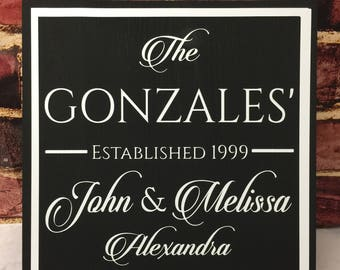 Personalized Family Established Signs, Custom Family Sign with Names, Blended Family Gifts, Unique Wedding Gift for Couple, Best Selling