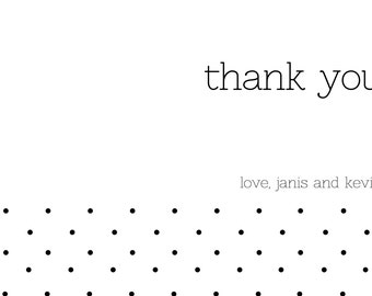 Personalized | Thank You | Simple | Black and White | Polka Dots | Digital Artwork