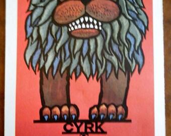 Vintage Circus Poster Print - Polish Circus LION Vintage Poster Size Book Plate