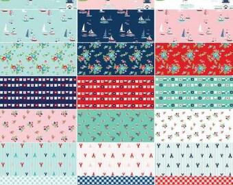 Seaside 2 1/2 Inch Strips Jelly Roll, 40 Pieces, Tasha Noel, Riley Blake Designs, Precut Fabric, Quilt Fabric, Cotton Fabric, Sailboat