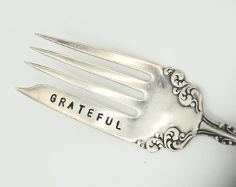 GRATEFUL Fork. Silver Plate LARGE Meat Fork. Grill Fork. Recycled Silver Plate. Brunch. Party Table Decor. Hostess Gift. Mother's Day Gift
