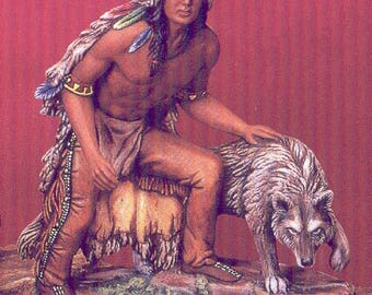 Ceramic Bisque U-Paint Native American Indian Brave and Wolf Unpainted Ready To Paint DIY PYOP Kimple