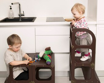 Helper tower step up toddler kitchen step stool helper tower table chair all in one montessori learning stool workwithnaturefo