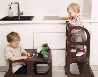 Helper Tower / Table / Chair All In One, Montessori Learning Stool, Kitchen  Step Stool