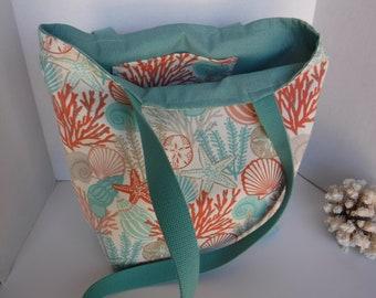 Starfish, Sand dollar-- Tote-Reversible-Outdoor fabric