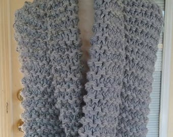 MADE TO ORDER ~ Infinity Scarf, Cowl, Super Chunky Knit Scarf, Hand Knit Infinity Cowl, Circle Scarf, Oversized Cowl, Gray Grey