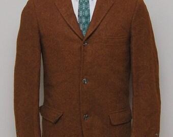 MENS SALE 1940s men's brown herringbone wool blazer/ 40s men's brown herringbone wool blazer/ Witkowski rKO52OacT