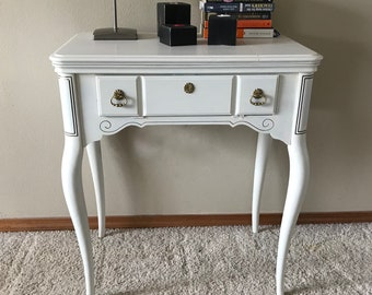 Repurposed Sewing Table/Accent Table/End Table/Nightstand/Sewing Table/Chalk Painted Table/Entry table/Desk/Table/