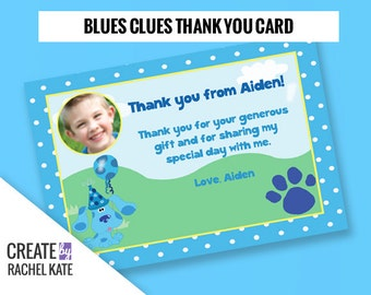 Blues Clues Birthday Party Personalized Printable Photo Pawprint Thank You Card Polka Dot | Color - Blue