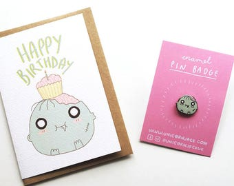 Zombie Bundle, Enamel Pin and Greetings Card Bundle