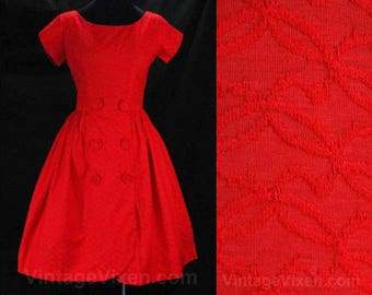 Size 2 Red 1950s Dress - Beautiful Cotton Brocade Fitted Bodice & Full Flared Skirt - Vintage Vixen - 50s 60s Beauty - Waist 24 - 49069