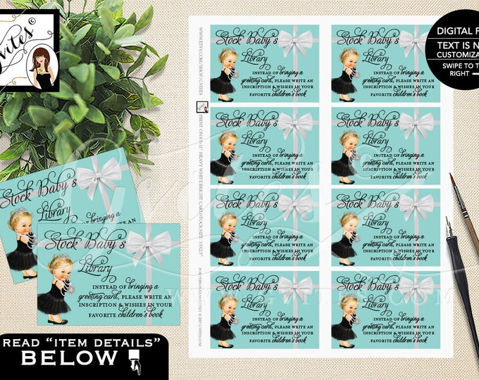 Baby Co Book For Baby Shower Inserts, Stock Baby's Library Baby & Co Baby Shower Party Printable. 3.5x2.5, 8/Sheet.