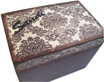 Recipe Box, Wood Recipe Box, Decoupaged Recipe Box, Damask Recipe Box, Wedding Recipe Box, Bridal Shower Box, Holds 4x6 Cards, MADE TO ORDER