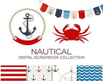 Nautical Clipart Clip Art Digital Paper Scrapbook Paper Printable Planner Printable Stickers Scrapbook Stickers Digital Download - CN00001