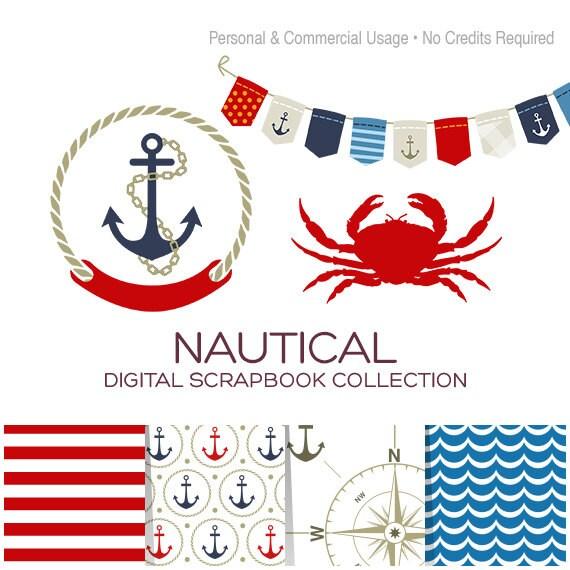 Nautical Clip Art Sailor Clipart Anchor Clipart Crab Clipart