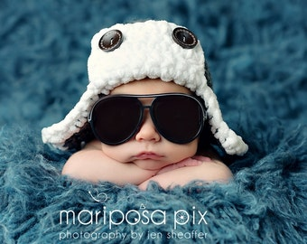 READY TO SHIP - Newborn aviator hat - you choose the color, newborn to toddler sizes available