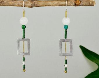 Open rectangle earring, cyber monday sale, sterling silver drop, green bead earring, long drops, pearl drop, geometric jewelry, women gift