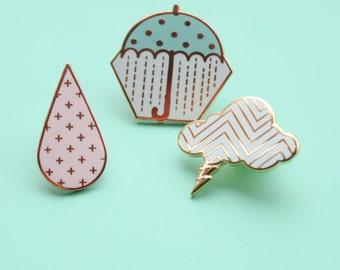 Pastel Weather Pins Set Rose Gold Hard Enamel Brooch Pin Flair Badge Storm Cloud Lightning Raindrop Rain Umbrella Pastel Geometric Pattern