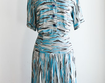 1930s/1940s Novelty Print Dress/Waist 32""