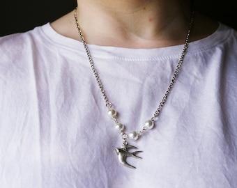 Beadwork bird necklace