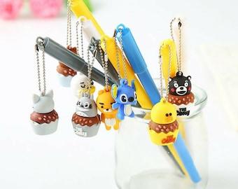 Kawaii Cartoon Characters Pendant Gel Pen ~ Kawaii Pens, Rilakkuma Totoro Stitch Cheese Cat Duck Planner Accessories, Writing Tool, Cute Pen
