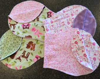 Double-sided Flannel Burp Cloths, Burp Pads, Burpies, Baby Girl, Woodland Themed, Pink and Purple